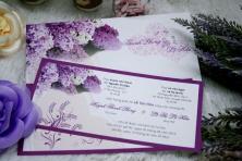 Thiệp cưới in hoa cẩm tú cầu sang trọng và lãng mạn